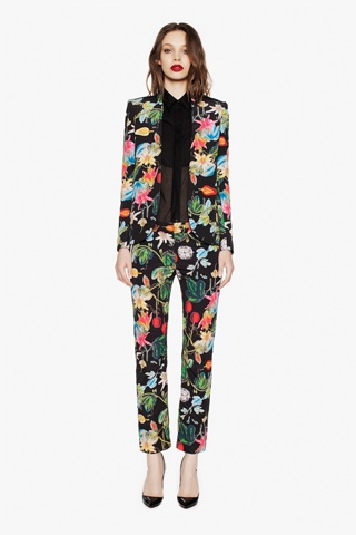 camilla and marc Floral Suit with Silk and Sheer Black under Shirt