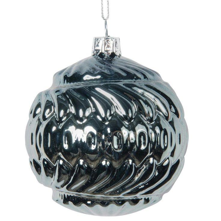 Boule de Noël bleue en verre 8 cm WAVY