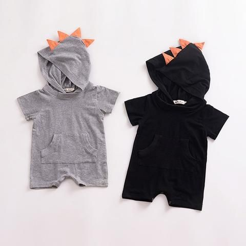 7f806e9d3b92 Baby Boy Rompers 2018 Summer Dinosaur Hoodies Baby Romper Black Grey Baby  Clothes Jumpsuits Onesies