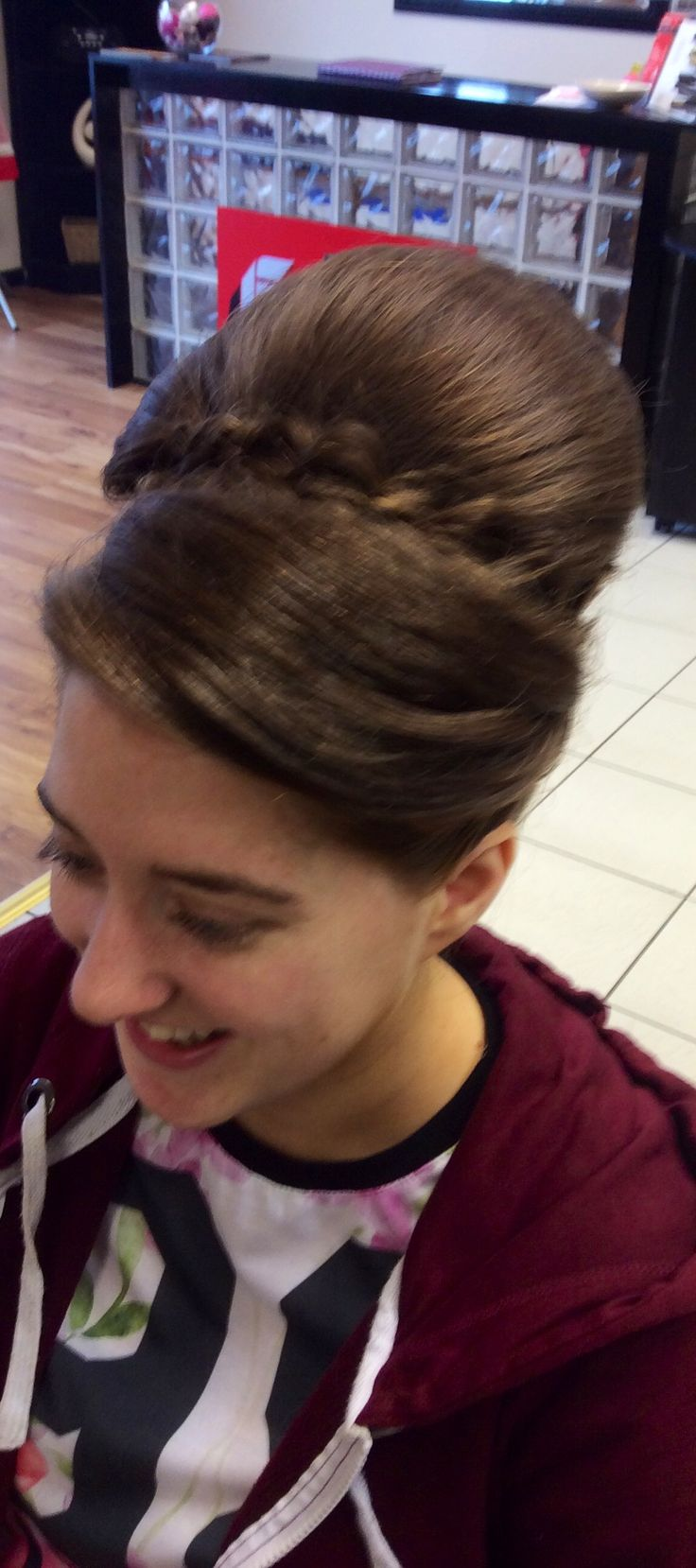 Crown bumped with twisted loose plaits as design