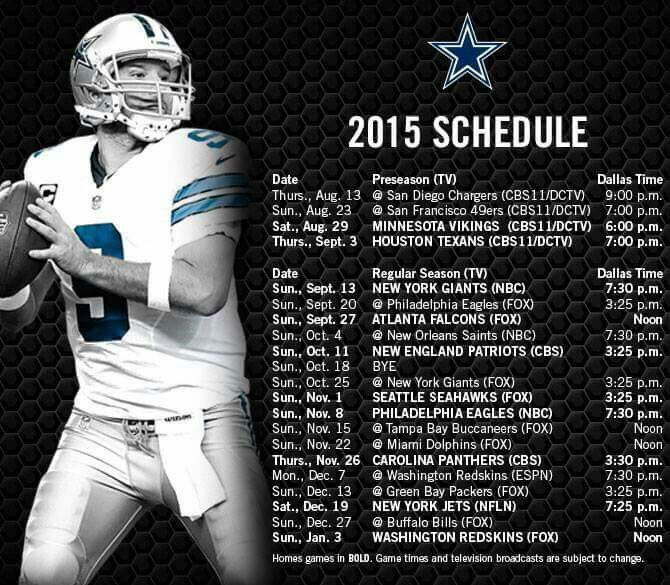 Dallas Cowboys 2015 Games Schedule!! I can't wait till August!!!!