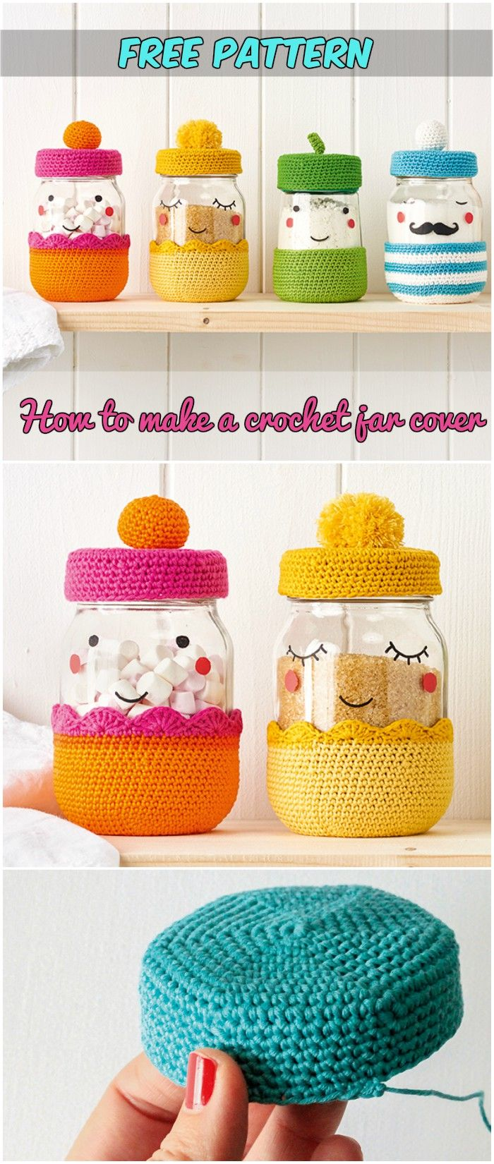 How to make a crochet jar cover Free Pattern