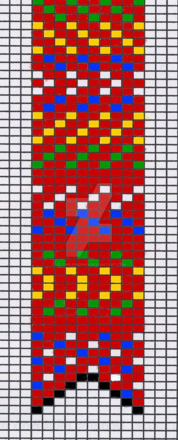 """A bead loom pattern I designed for a """"Metis sash"""" pocket-watch fob. I will do this one someday. When I do, I think that I will do two beads per square, so the final work is 20 beads wide, rather th..."""