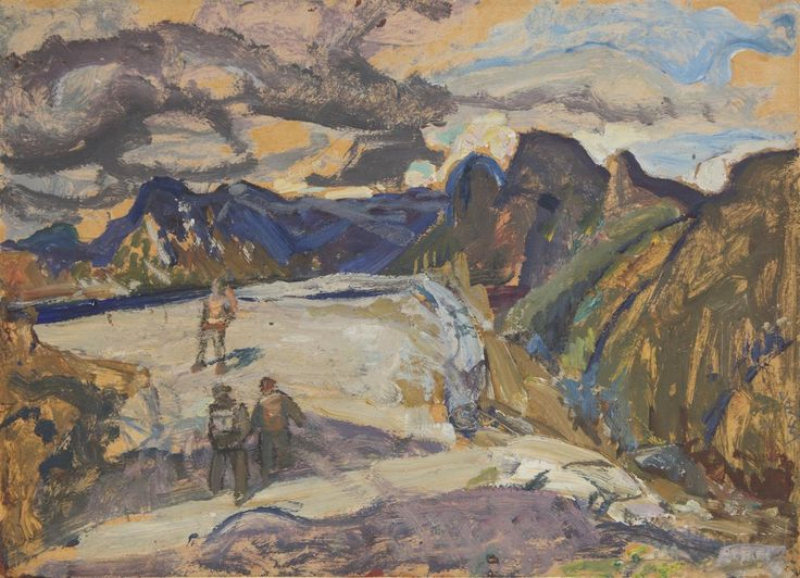 Frederick Horsman Varley  Canadian (1881-1969)  mountain climbers  oil on paper laid on card  signed  6 x 8 1/4 in. (15.2 x 21 cm)   Provenance: Harold and Lillian Sumberg, thence by descent to the present Private Collection (Vancouver)   Exhibitions: Edmonton Art Gallery, F. H. Varley: A Centennial Exhibtion Cat. No. 140   Other Notes: Varley Inventory No. 369  Estimate $ 18,000-20,000