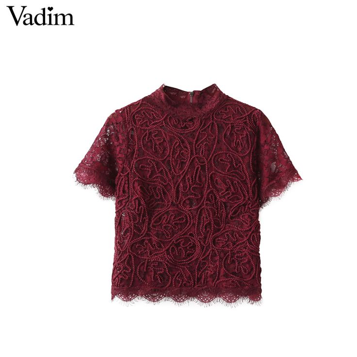 Women sweet lace crop tops short sleeve vintage casual o-neck blouse back zipper ladies fashion streetwear shirts blusas DT857