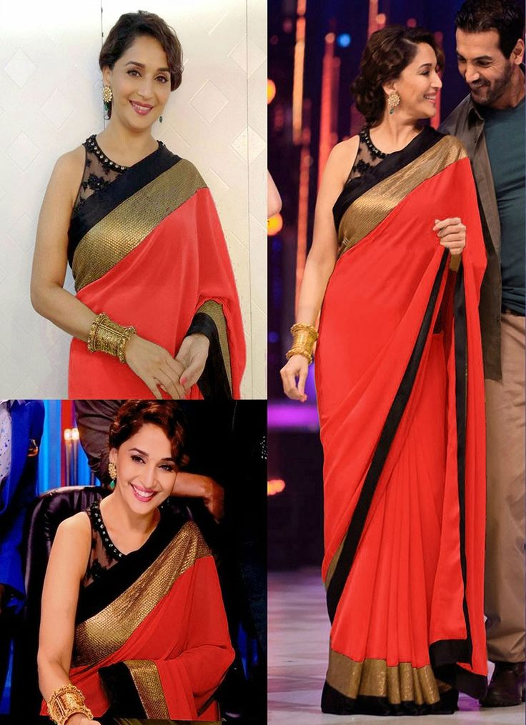 Madhuri Dixit Georgette Border Work Plain Red Bollywood Style Saree - 14 at Rs 708