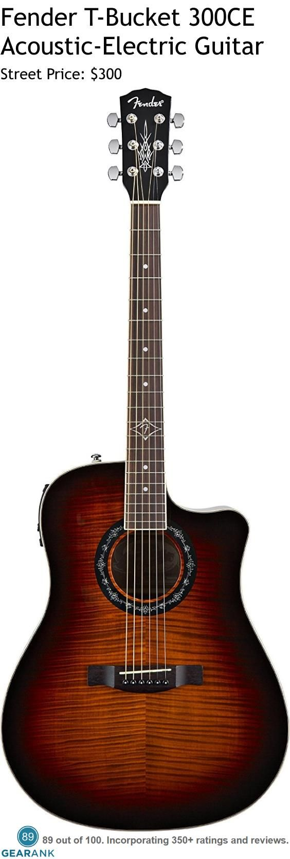 Fender T-Bucket 300CE Acoustic-Electric Guitar. It has a maple top with mahogany back and sides, rosewood fingerboard and bridge and mahogany neck.  The electronics are Fishman Isys III pickup/active preamp system with a built-in chromatic tuner, on/off switch, three-band EQ and volume control. For a Detailed Guide to Acoustic Guitars see https://www.gearank.com/guides/acoustic-guitars