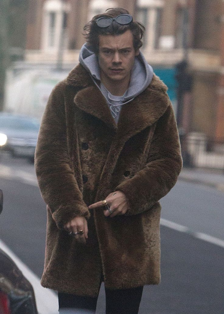 Harry Styles makes a statement with a shaggy fur coat.