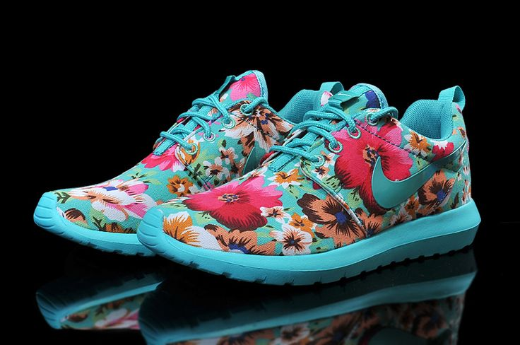 2015 Wholesale Shoes/Nike Roshe Run Floral Fabric Tuo Blue Jade