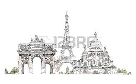 Parigi illustrazione Sketch arco collezione Triumph Torre Eiffel e del Sacro Cuore a Montmartre Archivio Fotografico