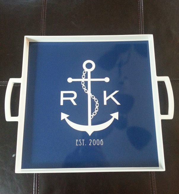 Unique Wedding Gifts Under USD50 : ... Monogram Melamine Square Serving Tray 12x12- Wedding Nautical Gift USD50