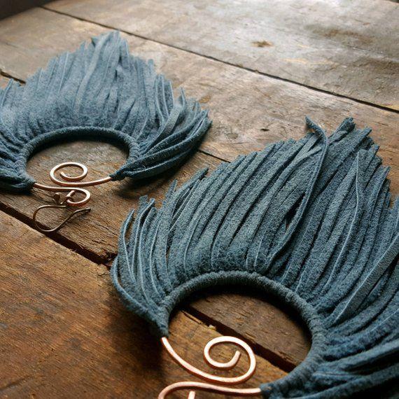 Latifah Hoop Earrings, Leather Fringe Hoop Earrings, Suede Feather Earrings, Long Tassel Tribal Earrings, Dreamcatcher Statement Earrings