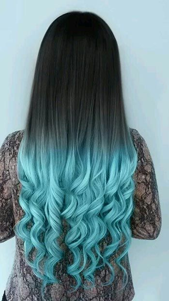 Black Hair with Ombre Blue Tips: