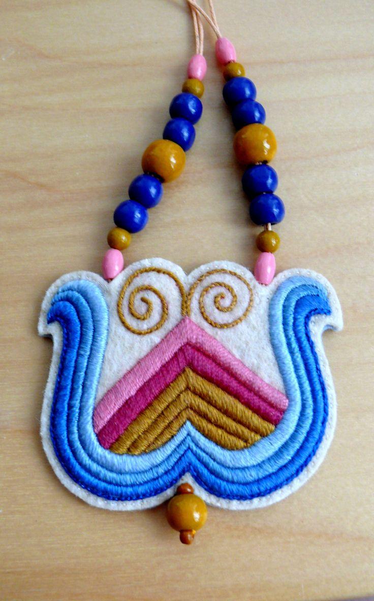 Hand embroidered hungarian folk necklace by Mokavicka :) Visit Facebook page: https://www.facebook.com/mokavicka