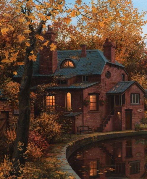 """Lovely old house with windows filled with warm inviting light (detail from """"House by the River"""" by Eugene Lushpin)."""
