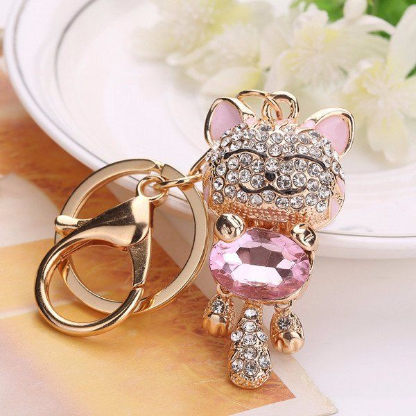 Lucky Smile Cat Crystal Rhinestone Key Ring - Big Star Trading Store