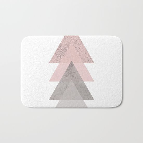 The perfect bath mats: fuzzy, foamy and finely enhanced with brilliant art. by Xiari. blush, TRIANGLES, concrete, pink, rose, gray, geometry, geometric, Scandinavian, minimal, mid century , design, trend, white, fresh, modern, society6, art print, tapestry, window curtains, home decor, interior design, home style, wall art
