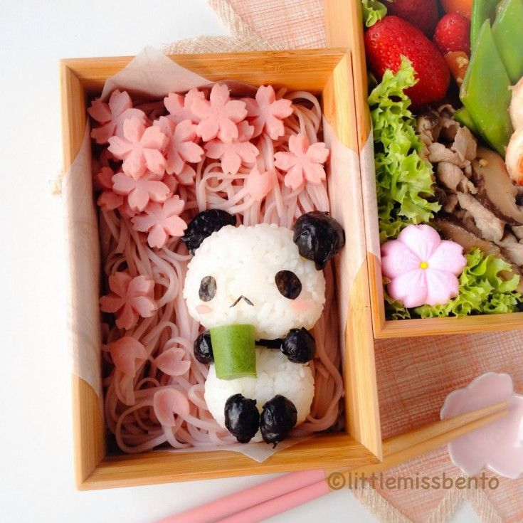 Looks like soba or somen noodles and the cherry blossoms are most likely ham. The panda cup is most likely green onion