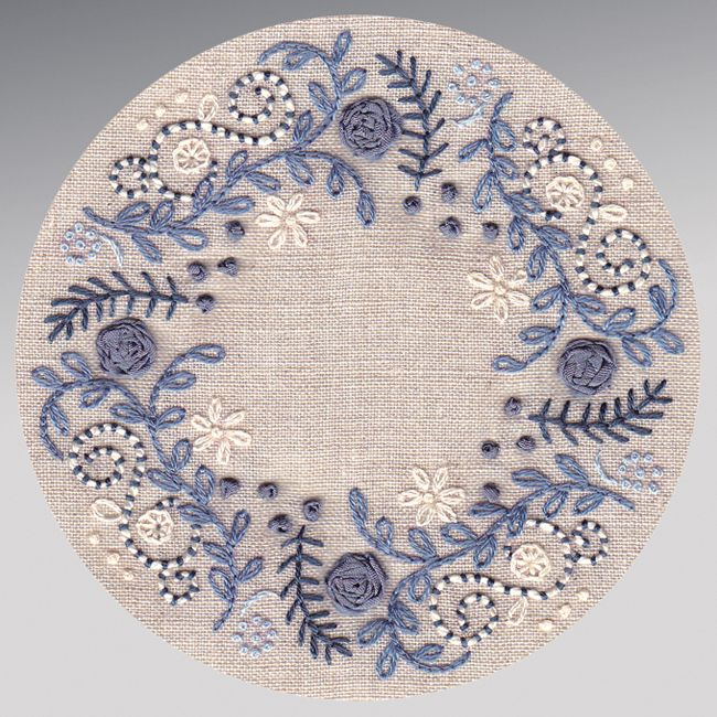 hand embroidery in blue.