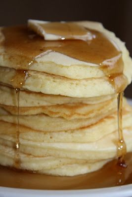 """""""Mormon Mavens in the Kitchen: No Milk Pancakes"""" result: awesome. They're ridiculously fluffy and thick. Hack: added vanilla extract to the wet."""