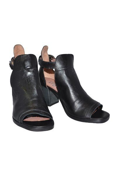 Mjus Sandalett med Peep toe skinn svart