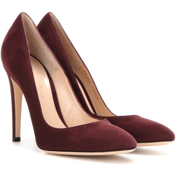 Gianvito Rossi Roma Suede Pumps ($469) ❤ liked on Polyvore featuring shoes, pumps, heels, red, gianvito rossi, red shoes, suede pumps, suede shoes and heel pump