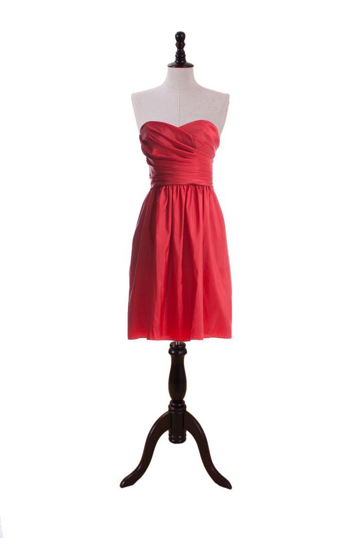Pleated Sweetheart Taffeta Dress