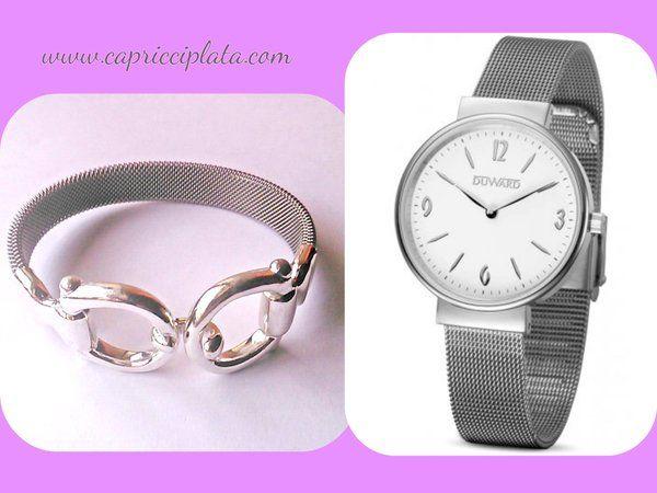 Pulsera de plata 925m y acero Reloj con brazalete de esterilla Los puedes encontrar en www.capricciplata.com y en  http://www.facebook.com/capricci.plata1  #pulseras #plata #relojes #woman #moda #fashion #shopping #blackfriday