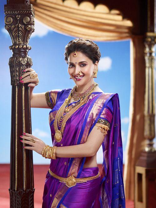 MadhuriDixit as a Maharashtrian Bride, #jewelry is key. #sajfashion #nauvarisaree