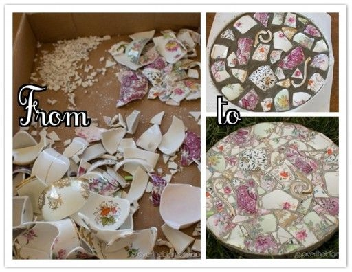 How to make DIY garden stepping stones with broken dishes or China step by step tutorial instructions