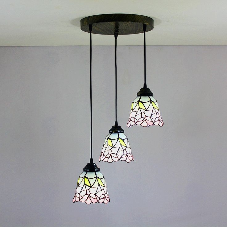 Lighting - Tiffany Lights - Tiffany Chandeliers - 6 inch European Country Vintage Glass Shade Indoor Tiffany Chandelier Bedroom Pendant Ceiling Light