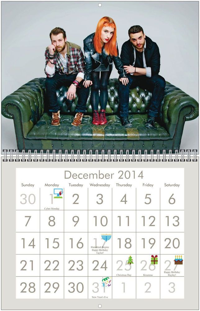 PARAMORE 2014 Wall Calendar $5.99 FREE usa shipping (see all clearenced 2014's)