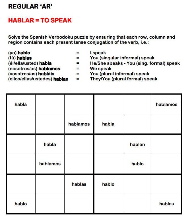 Les 209 meilleures images du tableau conjugaison le for Conjugaison espagnol hablar