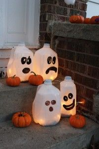 upcycle milk jugs for a super sweet halloween decoration great to do with the kiddos