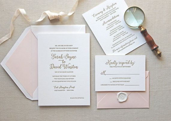 Letterpress Wedding Invitation - Magnolia Design - Calligraphy,Traditional…