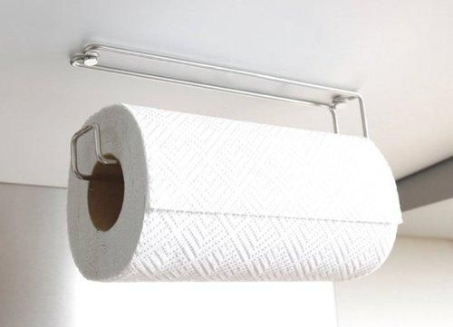 Get paper towels off the counter by mounting a paper towel holder on the underside of your cabinets. This one, by Plew Plew, is available from Amazon for $19.99.
