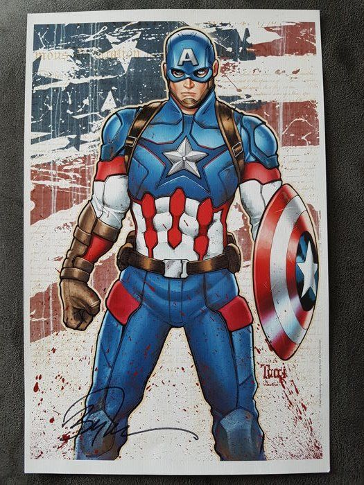 Catawiki online auction house: Marvel Comics - Captain America - Art Print By Billy Tucci And Wes Hartman - Signed