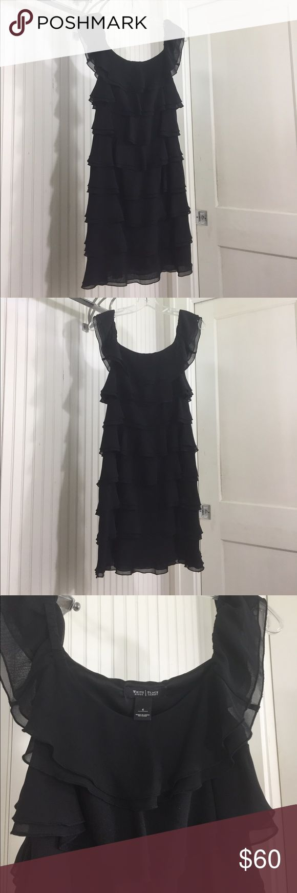 White House Black Market Double Ruffle Dress WHBM Dress perfect for date night or a special occasion. 100% Polyester, side zip and lined. Double Ruffle detail on this great dress. EUC from smoke free home. White House Black Market Dresses Mini