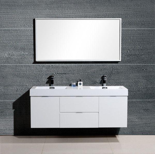 Photographic Gallery Bliss Kubebath High Gloss White Wall Mount Modern Bathroom Vanity Double Sink The Vanity Store Canada