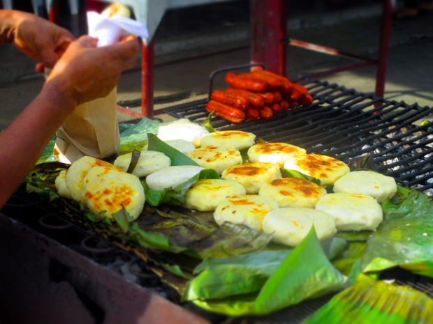 Mouth watering arepas on the street in Palomino, Colombia
