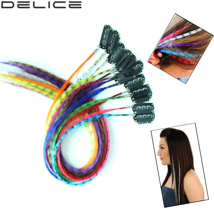 12pcs Multicolour Leopard Dot Synthetic Grizzly Feather Clip in Hair Extensions Hair Accessories PP62