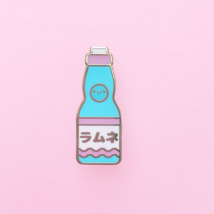 "Happy+little+ramune+soda!    ♥+1.5""+tall+  ♥+Gold+hard+enamel+pin+  ♥+Two+back+posts  ♥+Pink+rubber+pin+backs+"