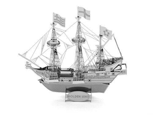 EKIND 3D Laser Cut Building Metal Model Kit Metallic Nano Puzzle Educational DIY Assembling Toy - Golden Hind Ship
