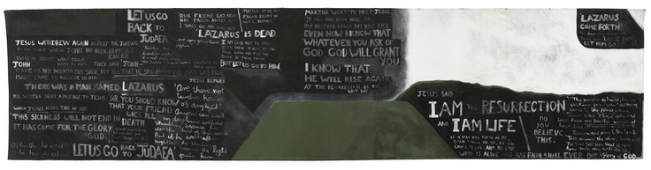 Colin McCahon – Practical religion: the resurrection of Lazarus showing Mount Martha, 1969