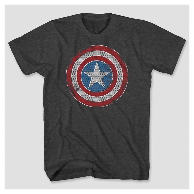 Men's Captain America Shield Big & Tall T-Shirt - Charcoal Heather
