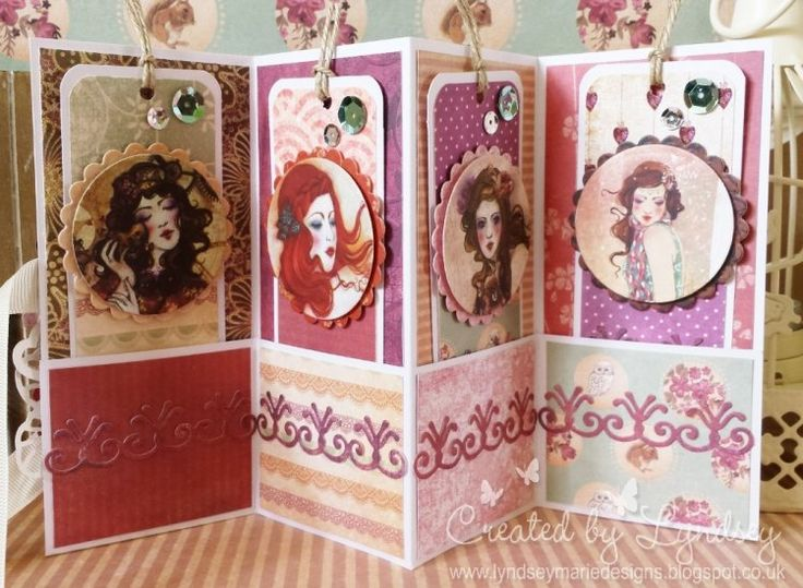 Inside the SANTORO's Willow Concertina Quad Tag Card, made by DT member Lyndsey