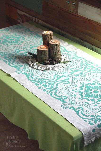 DIY Drop Cloth Projects -drop cloth tablerunner - what about a hall runner with aqua stripes?