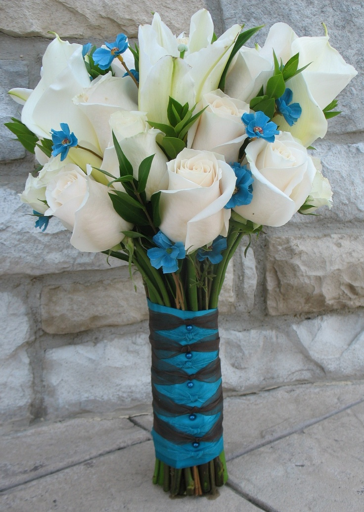Bridal Bouquet With Cream Vendela Roses Myrtle Greenery White Oriental Lilies Turquoise Corsage