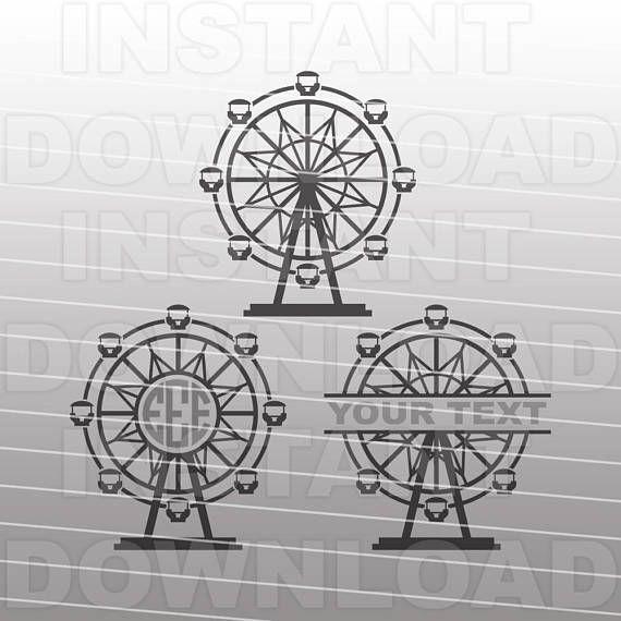 Ferris Wheel Svg Fileamusement Park Svg Vector Clip Art For Etsy Silhouette Cameo Vinyl Clip Art Svg