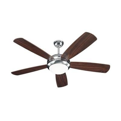 Monte Carlo Discus 52 in. Polished Nickel Ceiling Fan with American Walnut Blades-5DI52PND - The Home Depot